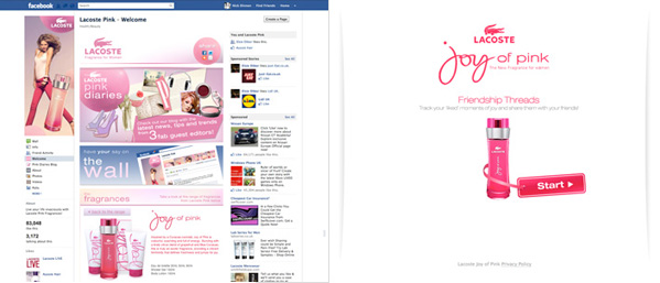 Lacoste Joy of Pink Friendship Threads Facebook app