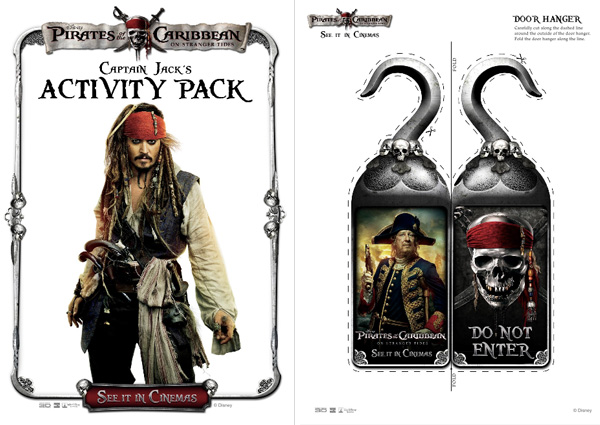 Pirates of the Caribbean Activity pack cover and door hangers