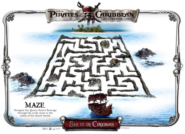 Pirates maze from the Activity pack